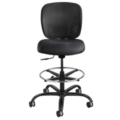 Vue Heavy-Duty Extended Height Stool, Fabric Seat, Nylon Mesh Back, Black